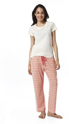 Mystere Paris Women's Striped Pink, White Top & Pyjama Set