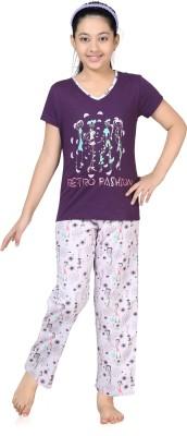 Kombee Girl's Printed Purple, White Top & Pyjama Set