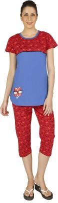 Red Ring Women's Printed Red Top & Capri Set at flipkart