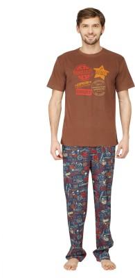 Nuteez Men's Printed Multicolor Top & Pyjama Set