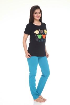 Meei Women's Solid Black Top & Pyjama Set at flipkart