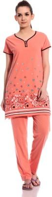 TAB91 Praveen Women's Printed Orange Top & Pyjama Set