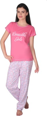 Lazy Dazy Women's Printed Pink, White Top & Pyjama Set at flipkart
