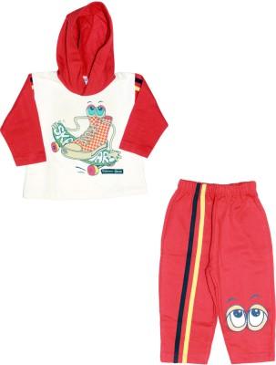 Babiano Boy's Printed White, Red Top & Pyjama Set