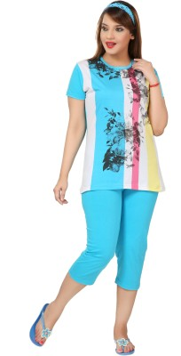 Div Women's Printed Light Blue Top & Capri Set