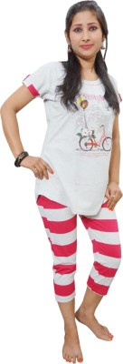Indiatrendzs Women's Printed Pink, Grey Top, Capri & Shorts Set