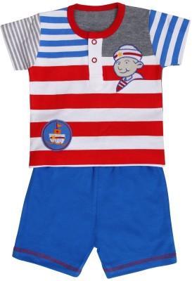 Munna Munni Kids Apparel Baby Boy's Printed, Striped, Solid Blue, Red, Grey Top & Shorts Set