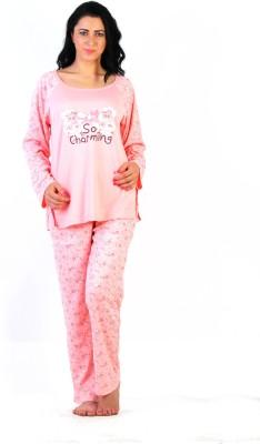 La Zoya Women's Applique Pink Top & Pyjama Set at flipkart