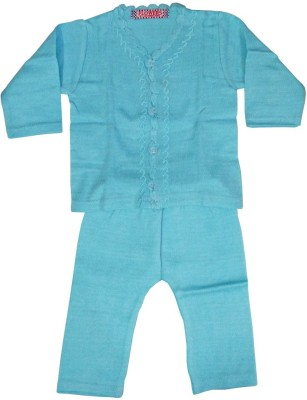 Flowers Premium Baby Girl,s Embroidered Blue Top & Pyjama Set