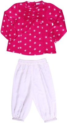 ShopperTree Baby Girl's Printed Red Top & Pyjama Set
