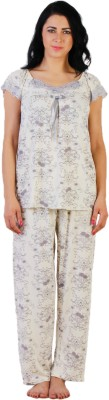 La Zoya Women's Floral Print Grey Top & Pyjama Set at flipkart