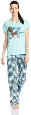 July Comfy Cotton Designer Two Piece Women's Printed Blue Top & Pyjama Set
