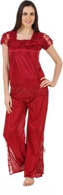 CrazyLiner Women's Solid Red Top & Pyjama Set