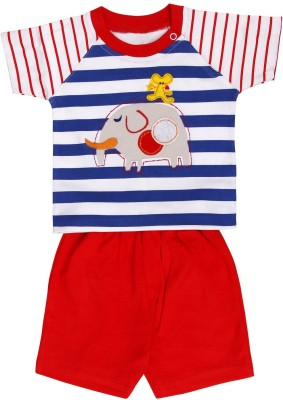 Munna Munni Kids Apparel Baby Boy's Printed, Striped, Solid Red, Blue Top & Shorts Set