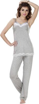 She N She Women's Solid Grey Top & Pyjama Set