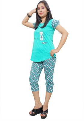 Indiatrendzs Women's Printed Green Top, Capri & Shorts Set