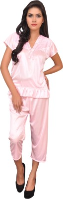 Melisa Women's Embellished Pink Top & Capri Set