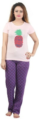 Sunwin Women's Printed Pink, Purple Top & Pyjama Set