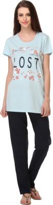 Rose Taylor Women's Printed Blue Top & Pyjama Set