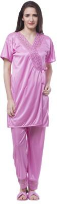 Se Deplace Women's Solid Pink Top & Pyjama Set