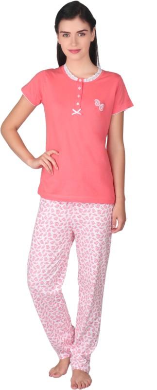 Lazy Dazy Women's Printed Orange, White Top & Pyjama Set