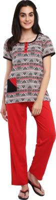 Softwear Women's Self Design Brown Top & Pyjama Set