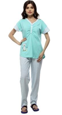 American Cult Women's Solid Green Top & Pyjama Set