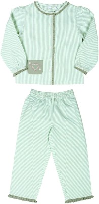 ShopperTree Night Suit Girl's Striped Multicolor Top & Pyjama Set