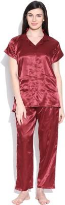 Sand Dune Women's Solid Maroon Top & Pyjama Set