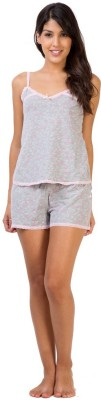Penny by Zivame Women,s Printed Grey Top & Shorts Set