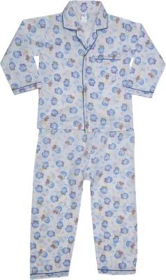 Kingstar Boy's Printed Blue Top & Pyjama Set