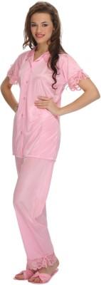 Clovia Women's Solid Pink Top & Pyjama Set