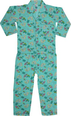 Kingstar Boy's Printed Green Top & Pyjama Set