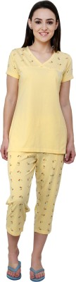 TAB91 Silvosky Butterfly Women's Printed Yellow Top & Pyjama Set