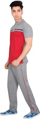 OZLO Men's Printed Red, Grey Top & Pyjama Set