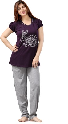 Sweet Night Women's Printed Purple Top & Pyjama Set