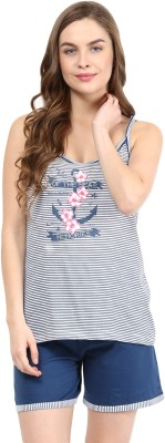 Rose Vanessa Women's Printed Blue Top & Shorts Set