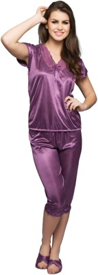 Clovia Women's Solid Purple Top & Capri Set