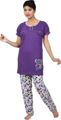 Ishin Women's Printed Purple Top & Pyjama Set