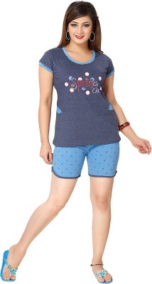 KuuKee Exclusive Women's Printed Blue Top & Shorts Set