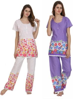 Miavii Women's Printed Multicolor Top & Pyjama Set