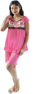 Gwyn Lingerie Women's Solid Pink Top & Shorts Set