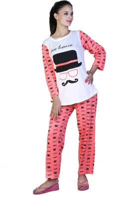 Ruok Women's Printed Pink Top & Pyjama Set