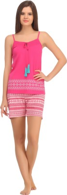 Kanvin Women's Solid Pink Top & Shorts Set