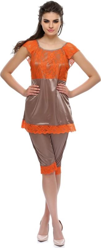 Clovia Orange Women's Solid Grey Top & Capri Set