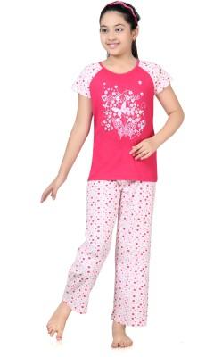 Kombee Girl's Printed Pink, White Top & Pyjama Set