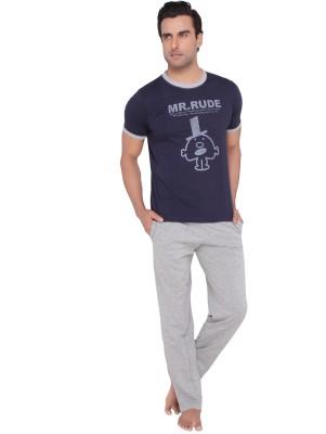 Valentine Men's Animal Print Dark Blue Top & Pyjama Set
