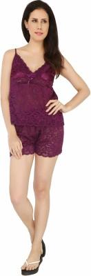 Sweet Heart Women's Self Design Purple Top & Shorts Set