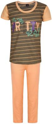 Jazzup Girl's Printed Orange Top & Pyjama Set