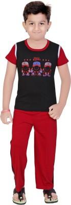 13 in Boy's Printed Black Top & Pyjama Set
